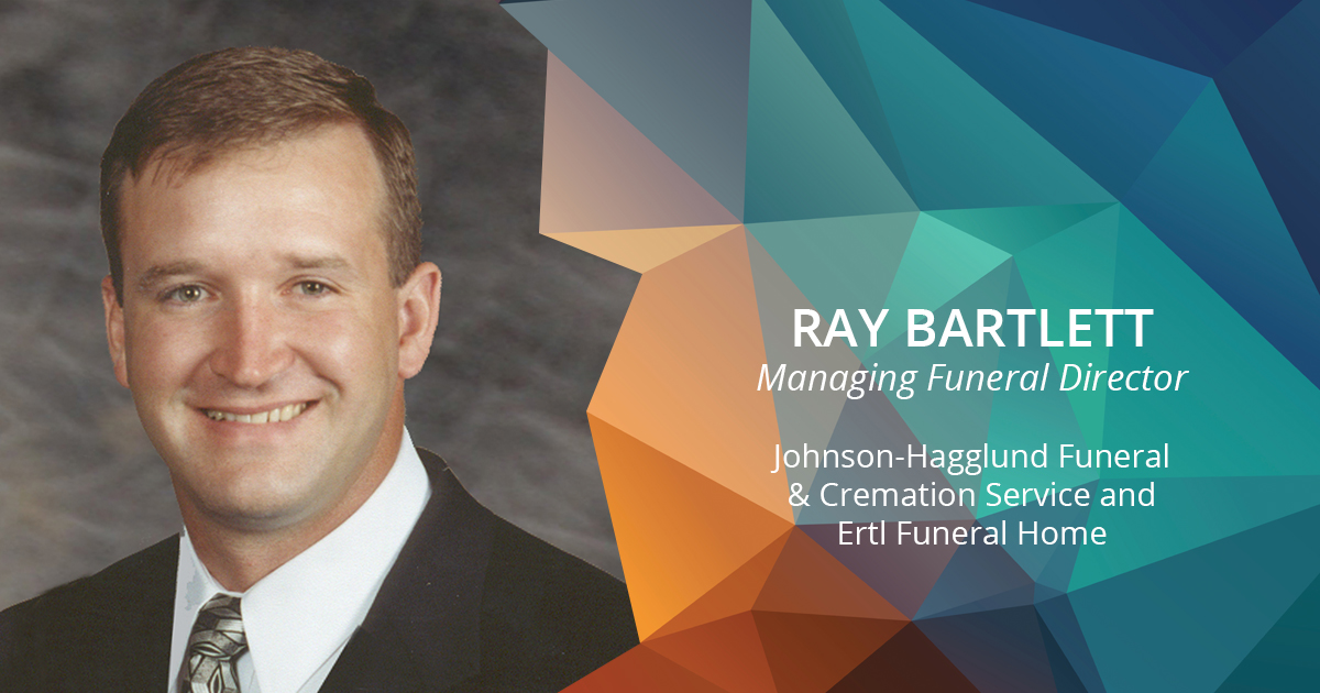 Ray Bartlett headshot and funeral home name