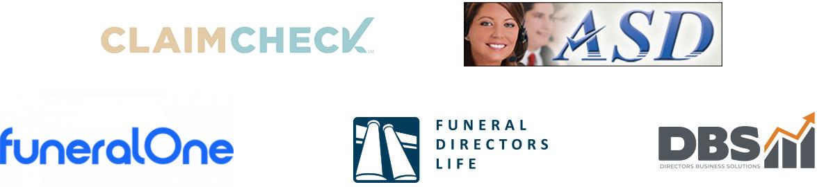 passare's partner logo compilation - CLAIMCHECK, ASD, FuneralOne, FDLIC, DBS